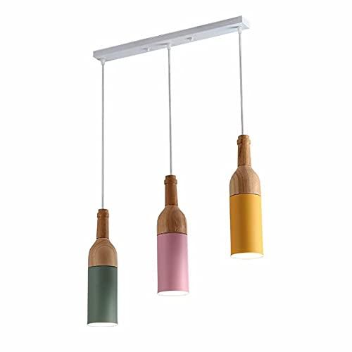 Lámpara de araña de botella de vino de troncos,lámpara de techo de macarrón nórdico para comedor,dormitorio,lámpara colgante de 3 luces,luminaria de suspensión ajustable en altura,portalámparas E27