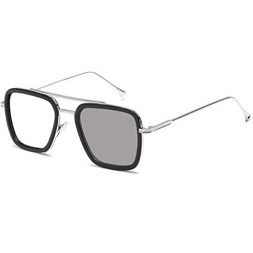 SHEEN KELLY Polarisierte Spider-Man-Sonnenbrille Quadratischer Metallrahmen für Männer Frauen Tony Stark-Sonnenbrille Downey Silber Frame Photochromic