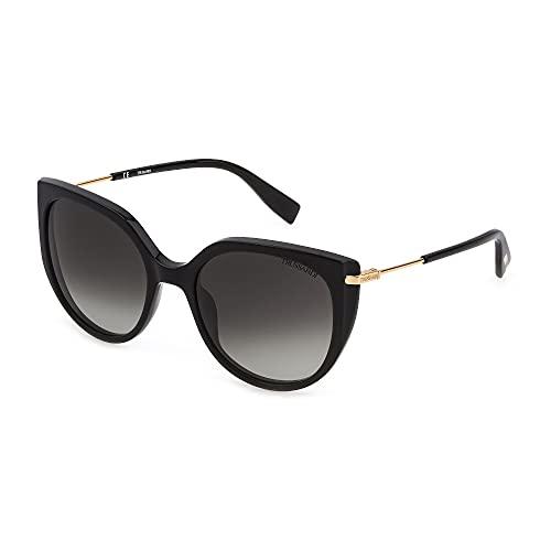 Trussardi Gafas de sol STR478 0700 55-19-135 para mujer, color negro brillante, lentes ahumadas degradadas
