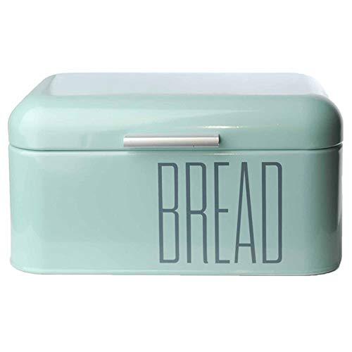 DRULINE Brotkasten Brotbox Metall Bambus Brotbehälter mit Deckel Bambusdeckel Brot Aufbewahrung Box Kiste (Metall-Mint)
