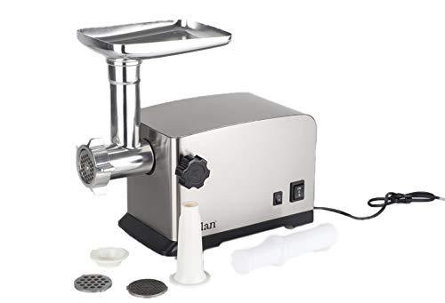 Zilan, tritacarne elettrico (grigio argento), robot da cucina, lama in acciaio inox, 1800 W
