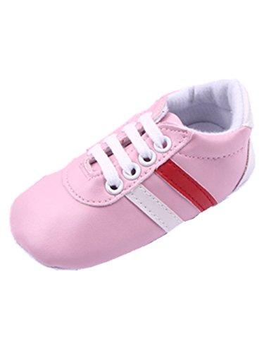 YICHUN Bébé Fille Garçon Chaussures de Premier Pas Rayure Chaussures Souples Chausson (Longueur de Semelle:12CM, Rose)