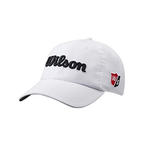 Wilson Hombre Gorra de golf, PRO TOUR, Poliéster, Blanco Negro, Talla única, WGH7000051