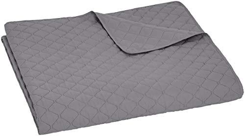 Amazon Basics - Bettüberwurf mit Prägemuster, extra-groß, Dunkelgrau, Rauten, 220 x 240 cm