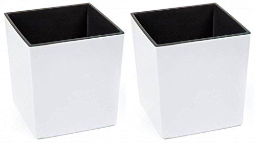 2 Stück KREHER XXL Design Pflanzkübel aus Kunststoff in Hochglanz Weiß mit herausnehmbaren Einsatz. Maße BxTxH in cm: 40 x 40 x 41 cm