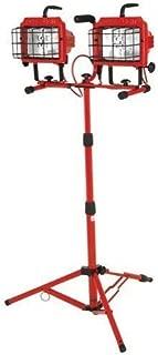 Woods L19 Cci Pro 2-in-1 Combo Twin Head Work Light with Telescoping Tripod Stand, 130 V, 1200 W, 10 A, 300 W Halogen Lamp, Watt, Red