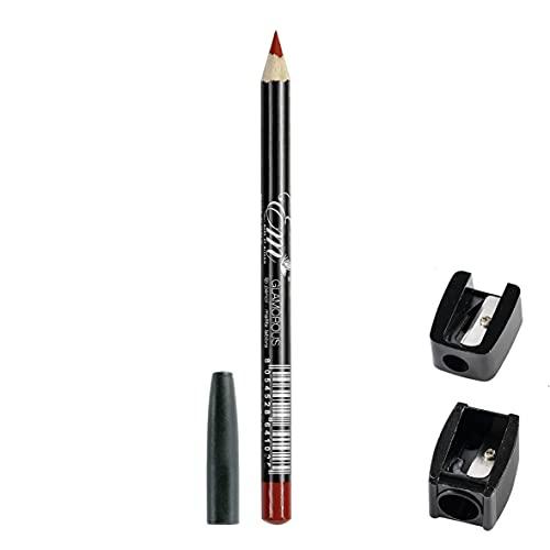 Embeauty Matita per Contorno Labbra Made in Italy Waterproof + Temperino, Lip Pencil Professional con il Tappo