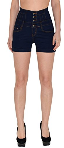 ESRA Damen Hotpants Damenshorts Damen High Waisted Hot-Pants Shorts Kurze Hose Z97