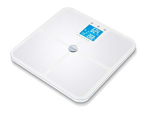 Beurer BF950 - Báscula de baño diagnóstica con IMC, función Bluetooth, de vidrio, color blanco, 32 x 32 x 2.4 cm, 0.9 kg