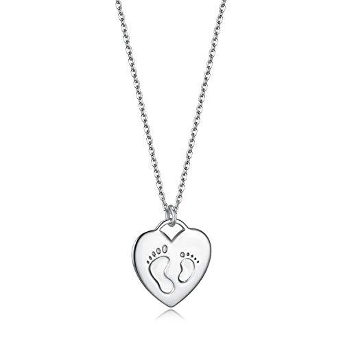 Collar de madre e hija, Huella de bebe Colgante de Corazón en plata de ley 925, 45cm cadena