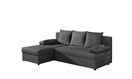 MOEBLO Ecksofa mit Schlaffunktion mit Bettkasten Couch L-Form Polstergarnitur Wohnlandschaft Polstersofa mit Ottomane Couchgranitur - ARON (Dunkelgrau (Sawna 05), Ecksofa Links)