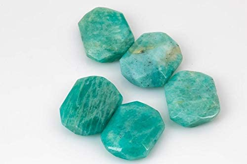 1 Order 2 pcs Natural ELET Ranking TOP14 Amazonite Flat OFFicial mail order Drilled- Nugget Center