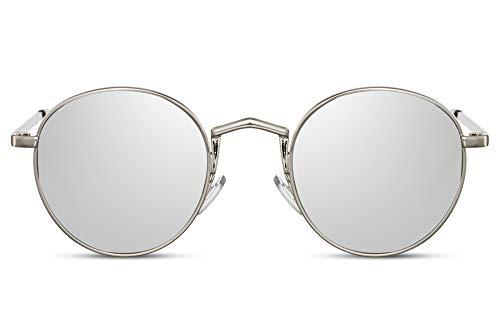 Cheapass Sunglasses Redondas Metálicas Plateadas Gafas de Festival con Puente ^ y Lentes Espejadas Plateadas Protección UV400 Hombres
