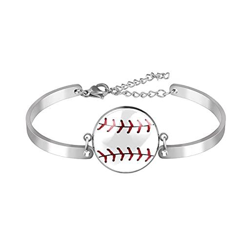 Armband, Edelstahl Armband Armreif Schmuck Geschenk Manschette Poliert Mode Geschenkbox Stil Privatauftrag Baseball-Textur für Männer Frauen