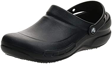 Crocs unisex adult Men's and Women's Bistro | Slip Resistant Work Shoes Clog, Black, 10 Women 8 Men US