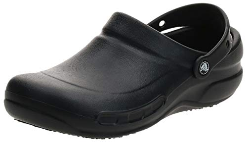 Crocs Men's and Women's Bistro Clog | Slip Resistant Work Shoe, Black, 12 Women / 10 Men