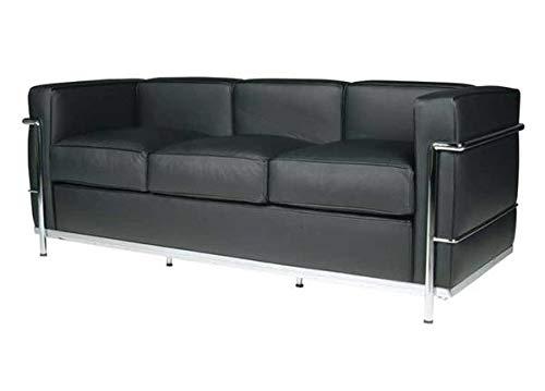 Sofá de 3 plazas de acero inoxidable, piel italiana negra, marrón, coñac blanco