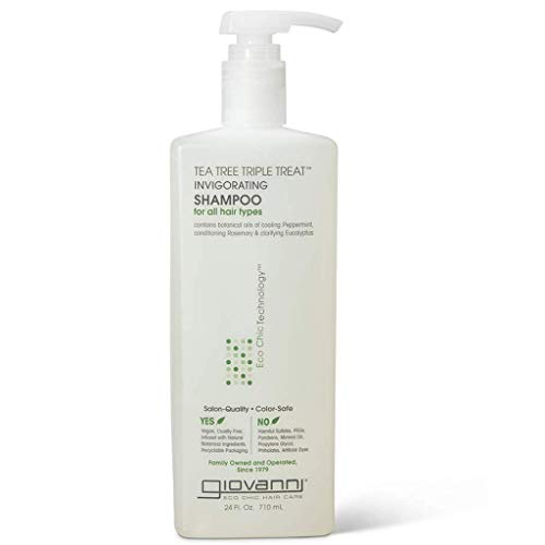 GIOVANNI Tea Tree Triple Treat Invigorating Shampoo, 24 oz. Cooling Peppermint, Conditioning Rosemary, Clarifying Eucalyptus, Helps Alleviate Dry Flaking Scalp, Sulfate Free, No Parabens (Pack of 1)