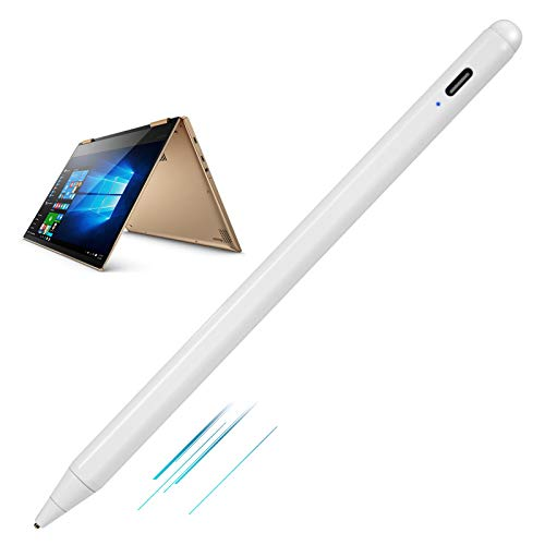 New 2018 Yoga 730 2-in-1 Laptop Stylus,Active Stylist Digital Capacitive Pen for Lenovo Yoga 730 2-in-1 15.6' Touch-Screen Laptop Stylus with Ultra Fine Tip,Touch-Control and Rechargeable,White