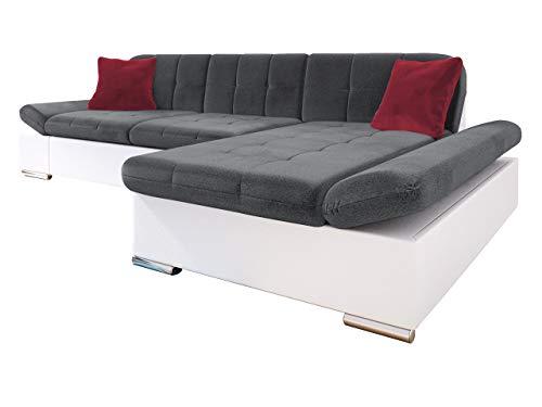 Ecksofa Malwi mit Regulierbare Armlehnen Design Eckcouch mit Schlaffunktion und Bettkasten, L-Form Sofa vom Hersteller, Couch Wohnlandschaft (Soft 017 + Kronos 22 + Kronos 02, Ecksofa: Rechts)