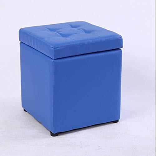 JUIO Asiento de Taburete Ottomans con Almacenamiento, puftshool Cuadrado Puf, Taburete de pie portátil - para Sala de Estar Dormitorio pequeño Espacio 30x30x35cm (12x12x14inch) (Color : Blue)