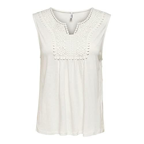 Only Onllovely Life S/l Crochet Top Jrs Camiseta sin Mangas, Bailarina De La Nube, Mujer