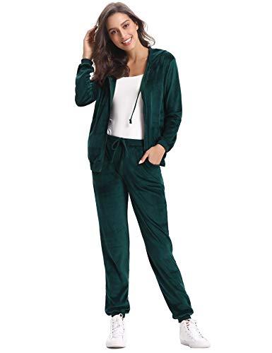 Abollria Survêtement Femme Ensembles Sportswear Sweat Capuche Suit Zipper Pull à Capuche avec Poches Casual Jogging, Vert Foncé, M: FR 40