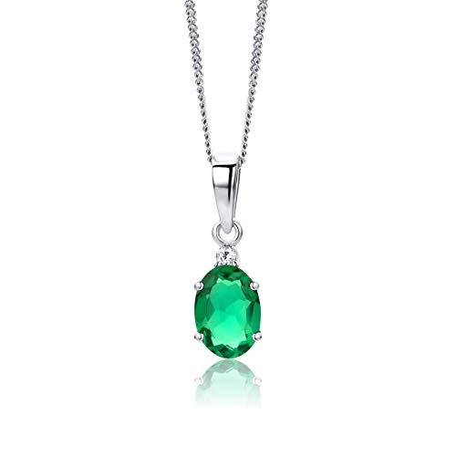Orovi - Cadena para mujer de oro blanco de 9 quilates/375 con diamante y colgante de piedra esmeralda, 45 cm, joya para mujer