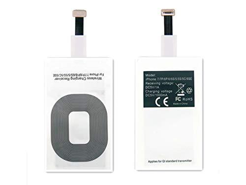 AISHEMI Adaptador de receptor de carga inalámbrico con tecnología Fast & Smart Microchip para iPhone 5 / 5S / 5C / SE / 6S / 6S Plus / 7/7 Plus