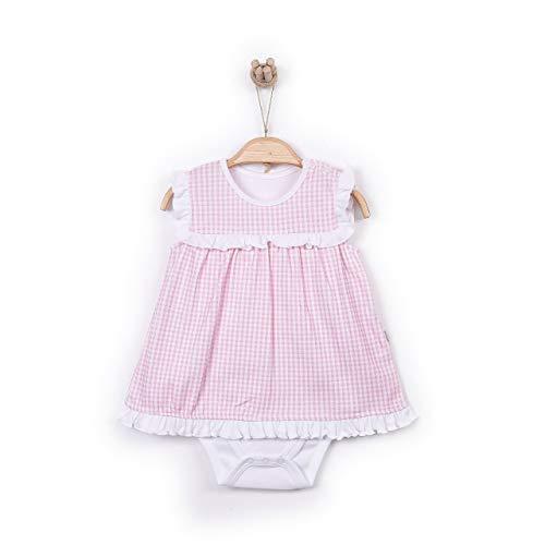 Smart Dress Ärmelloser Babybody Top Kleid Frühling Sommer Bodyform im Kleider Look in rosa bis Größe 74 Rosa 68