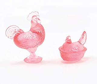 Dollhouse Miniature Rooster and Nesting Hen Pink