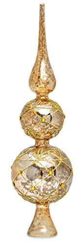 Sikora SP4G große ausgefallene Christbaumspitze aus irisierendem Klar Glas mit Antik Gold Dekor