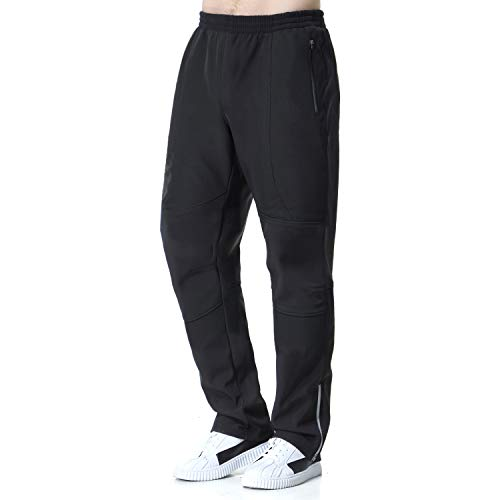beroy Cycling Pants Windproof Thermal Fleece Workout Winter Pants for Men(CBlack,2XL)