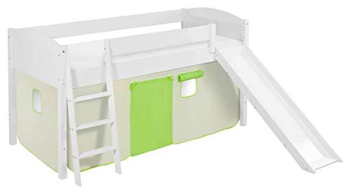Lilokids Spielbett IDA 4106 Grün Beige-Teilbares Systemhochbett weiß-mit Rutsche und Vorhang Kinderbett, Holz, 208 x 220 x 113 cm