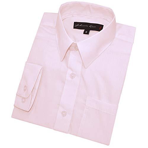 Johnnie Lene Boy's Long Sleeves Solid Dress Shirt #JL32 (12, Pink)