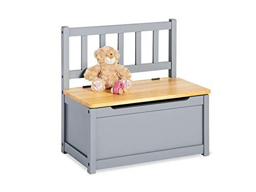 Pinolino Kindertruhenbank Fenna, vollmassives Kiefernholz, mit Klappendämpfer, Sitzhöhe 29 cm, für Kinder ab 2 J., grau und klar lackiert