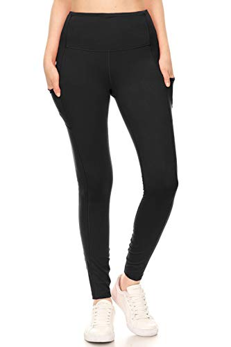 Leggings Depot YL7A-BLACK-L Side & Inner Pocket Yoga, Large