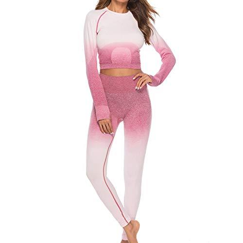 YANFANG Ropa Deportiva para Mujeres Entrenamiento Tie-Dye Imprimir Crop Top Leggings Fitness Deporte Yoga Traje atlético,Verde, Rosa Fuerte, Gris, Naranja