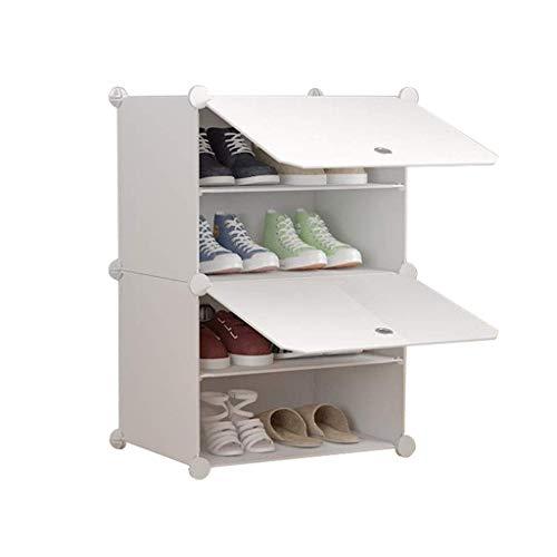 JF-XUAN DIY zapatero plástico Pasillo del gabinete armario de almacenamiento modular de estanterías multiusos a prueba de polvo montaje sencillo estante del zapato blanco moderno