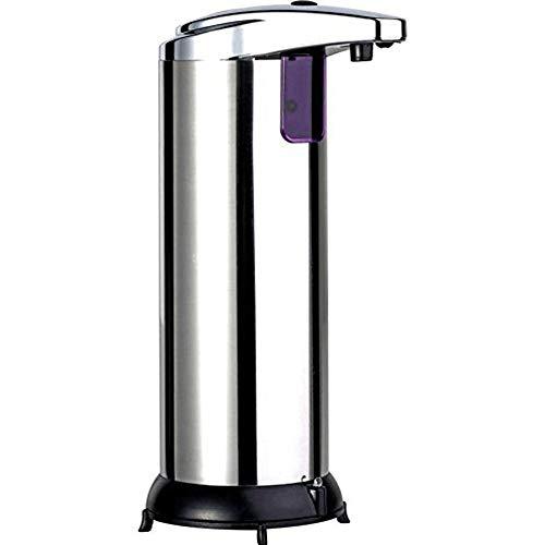 WXH-00 Dispensador de jabón automático Dispensador sin contacto Infrarrojo de acero inoxidable Baño automático Cocina de manos libres restaurante (con base impermeable)