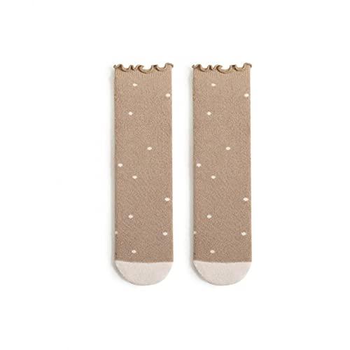 Calcetines de bebé de 0 a 6 meses, calcetines largos para niños, calcetines hasta la rodilla, calcetines para interiores, calcetines de punto, calcetines para niños, cómodos hasta la rodilla, caqui, F