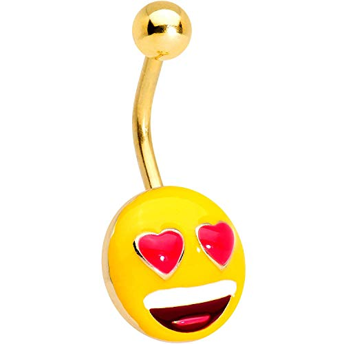 Officially Licensed Heart Eyes emoji Anodized Steel Belly Ring