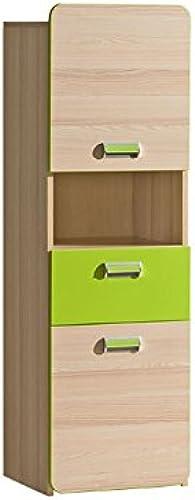 SMARTBett Bücherregal Limo mit 2 Türen und 1 Schublade Esche Natur Grün