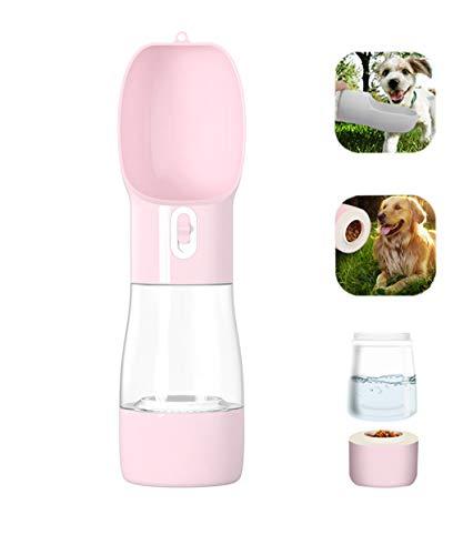 Kaiyingxin Botella de Agua para Perros Portátil, 2 en 1 Gatos Dispensador de Agua con Contenedor de Comida, Antibacteriano, a Prueba de Fugas, Filtro de Agua para Mascotas al Aire Libre(458mL, Rosa)