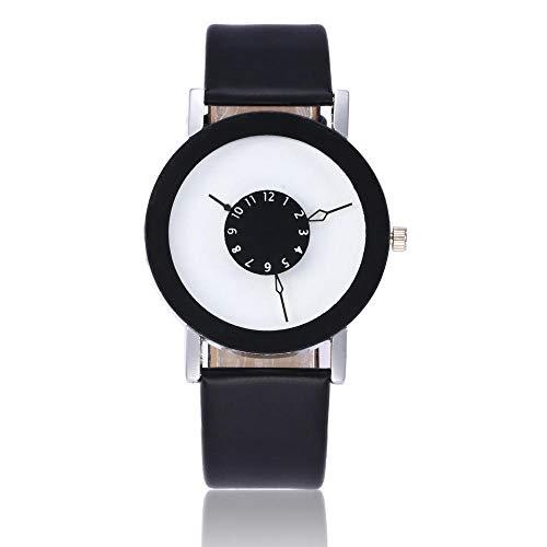 Relojes De Pulsera ,Relojes Parejas En Blanco Y Negro Ver Giradiscos De Moda De Moda Estudiantes De Secundaria Simples-Negro con Fideos Blancos