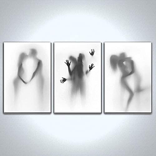 Pinturas murales 3 piezas de 50x70cm hombres y mujeres nórdicos sin marco besándose. Pintura de lienzo minimalista. Fondo de la sala de estar decoración de la pared