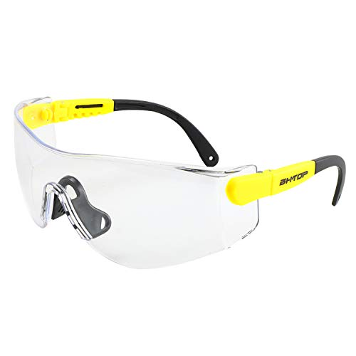 BHTOP Safety Glasses Protective Eye Wear KS106 Clear Lens Anti-Fog Goggles Scratch Resistant Wrap-Around Lenses and No-Slip Grips UV Protection In Yellow