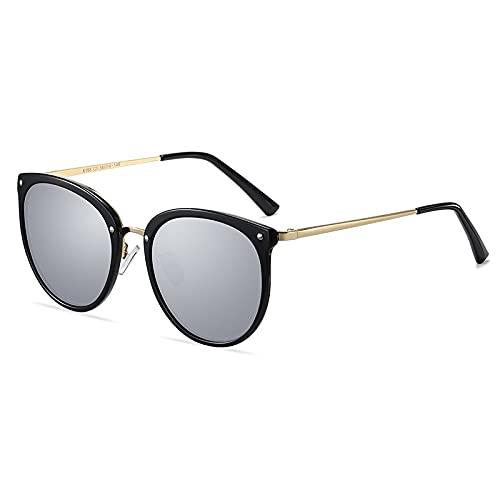 ZKP Gafas de sol polarizadas retro, gafas de sol clásicas de gran tamaño, anti-UVA/anti-UVB polarizadas decoloración y luz azul (color: negro marco dorado espejo plateado)