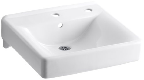 KOHLER K-2084-R-0 Soho Wall-Mount Bathroom Sink with Single-Hole Faucet Drilling and Right-Hand Soap/Lotion Dispenser Drilling, White