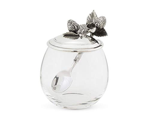 Vagabond House Glass Pot with Pewter Metal Strawberry Jam Jar Jelly Pot with Lid and Serving Spoon 5 inch Tall 12 oz